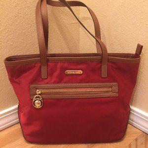 Michael Kors Red Satin Bag with Tan Leather Trim